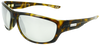 yellow tortoise shell classic sport frame sunglasses with silver mirror lenses
