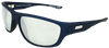 matte blue classic sport frame sunglasses with silver mirror lenses