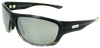 black fade to clear classic sport frame sunglasses with silver mirror lenses