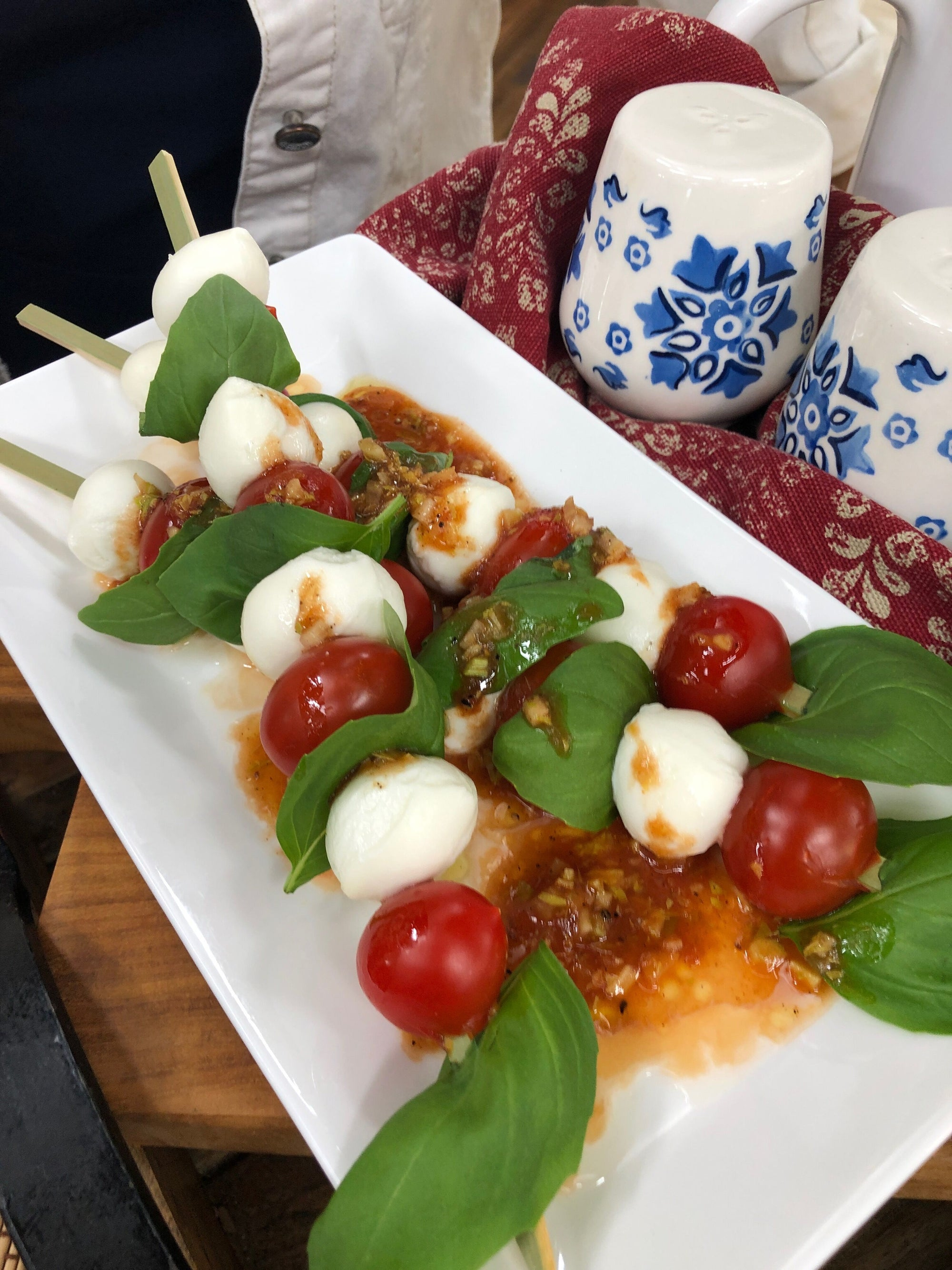 Cat Cora's Caprese Skewers with Bloody Mary Vinaigrette