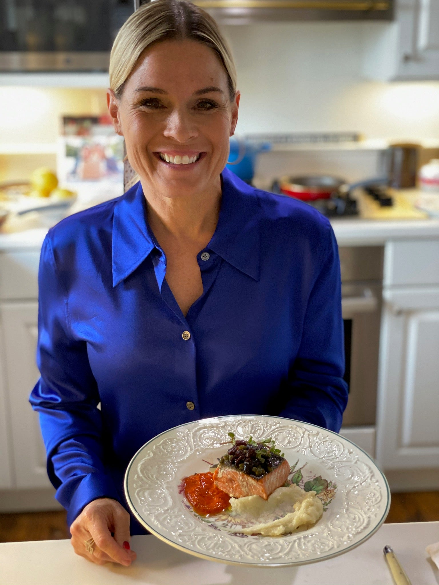 Cat Cora's Pan Seared Salmon Agro-Dolce With Romesco Sauce