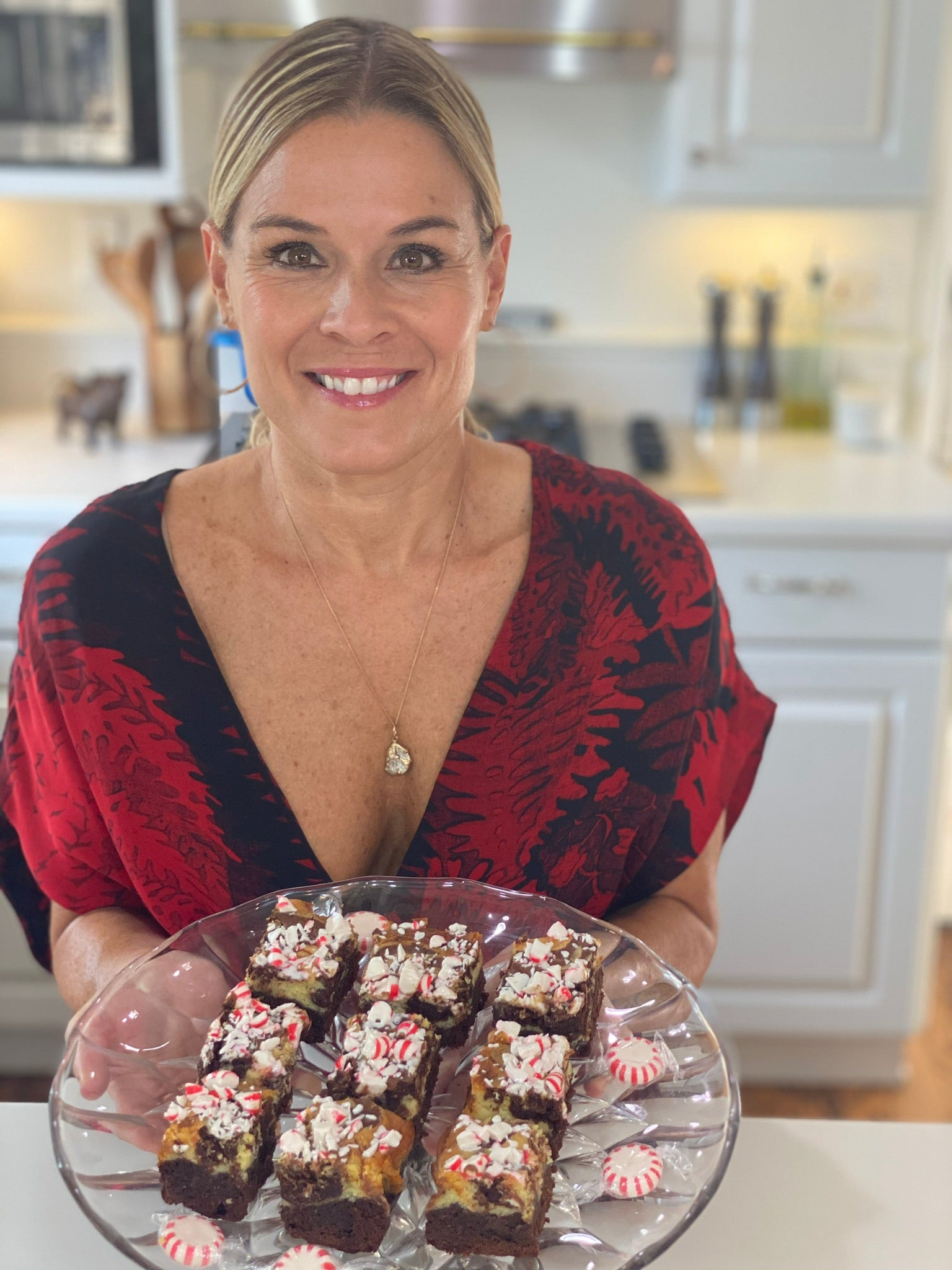 Cat Cora's Eggnog Cheesecake Brownies with Crushed Peppermint Topping