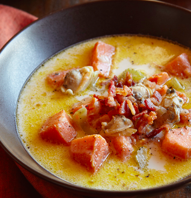 Sweet Potato Clam Chowder with Bacon