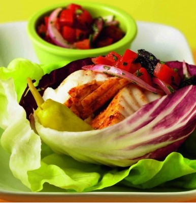 Lettuce Gyros Filled with Spicy Halibut