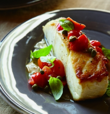 Halibut with Pepitas, Capers & Tomatoes