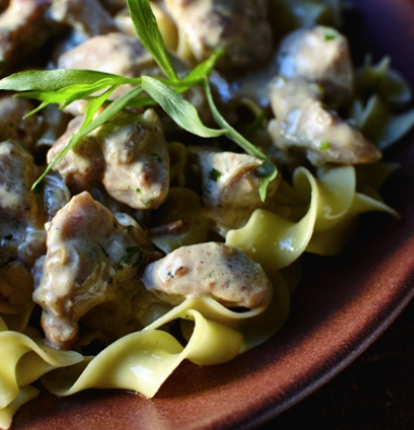 Chicken Stroganoff with Tarragon and Mustard