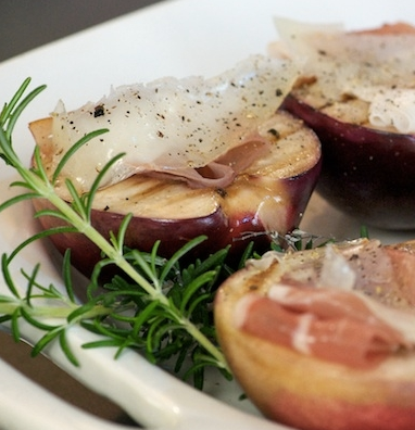 Grilled Stonefruit with Prosciutto & Cheese