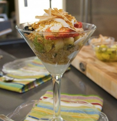 Kiwi/Berries Parfait with Toasted Coconut