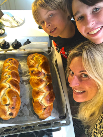 Nicole and the boys with Challah Bread