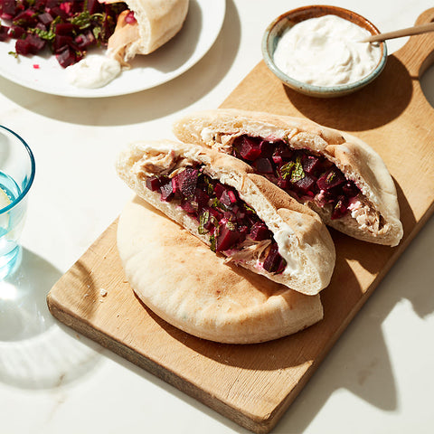 Chicken Gyro with Beet Salsa and Creamy Tahini Sauce