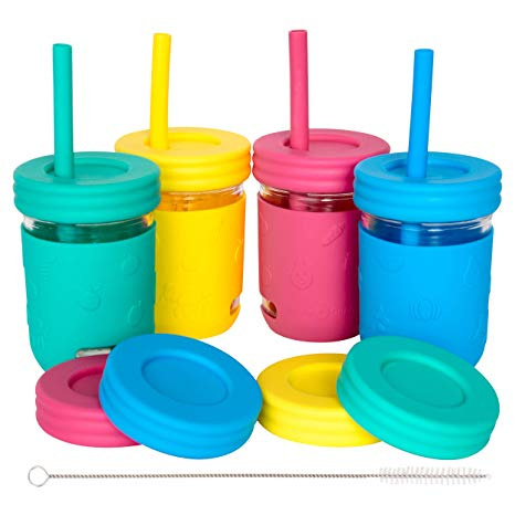 Kids 8oz Glass Mason Jar Cups w/ Sleeves and Straws