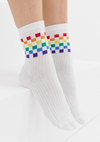 ASOS DESIGN rainbow checkerboard ankle socks