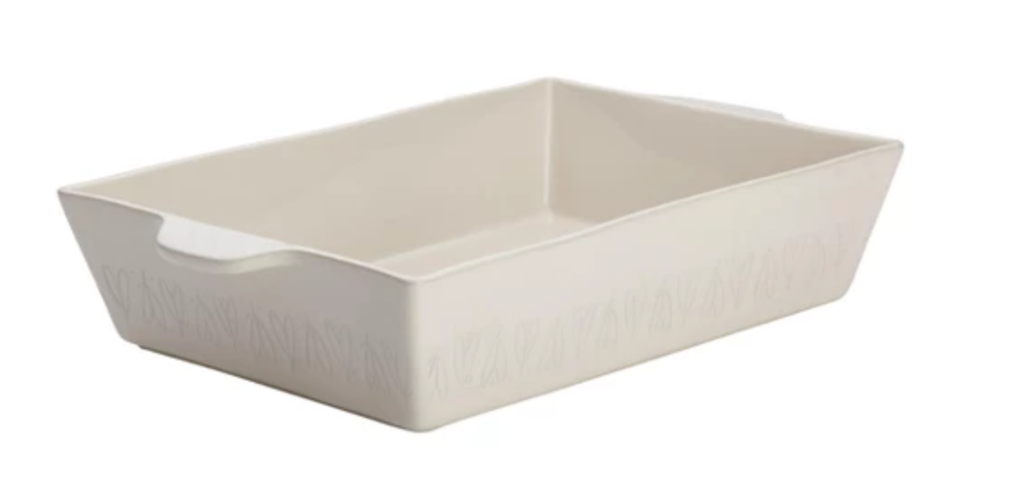 Ayesha Curry Home Collection Stoneware Rectangular Baker in French Vanilla
