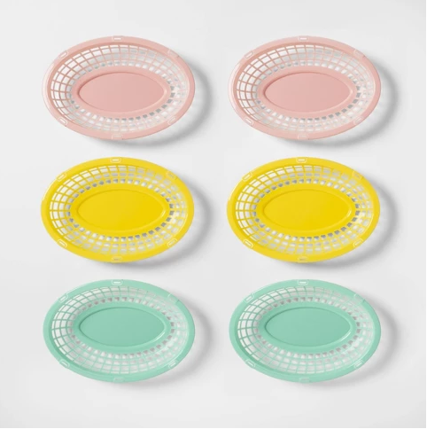 6pk Oval Tropical Serving Basket Pink/Yellow/Green - Sun Squad™
