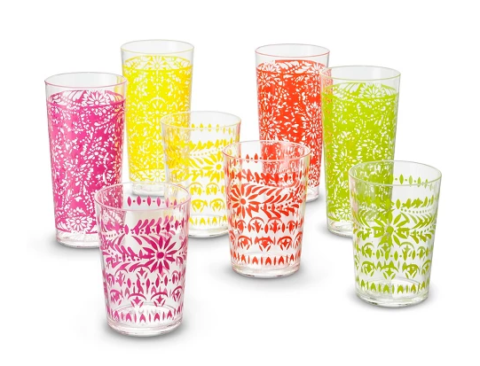 Boho Boutique Plastic Tumblers 22oz - Marika Pink/Red - Set of 8