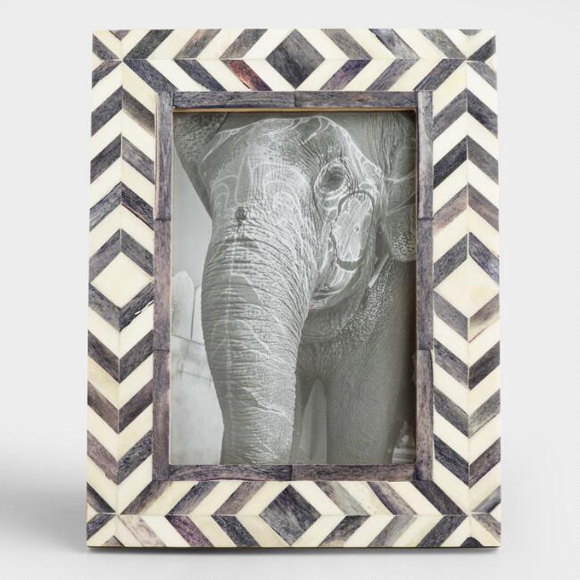 Gray And Natural Bone Chevron London Frame