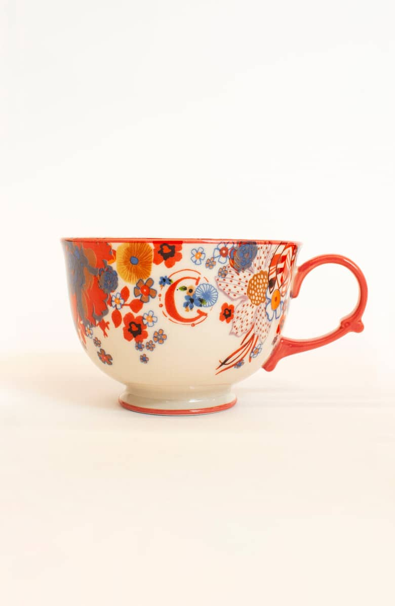 ANTHROPOLOGIE Tea Time Monogram Mug
