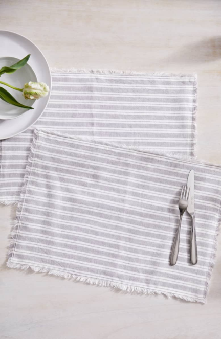 THE WHITE COMPANY Set of 2 Stripe Linen & Cotton Placemats