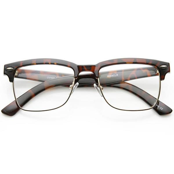 Vintage Inspired Horned Rim Half Frame Clear Lens Glasses