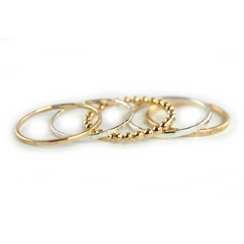 Mixed Texture Stackable Ring Set of 5