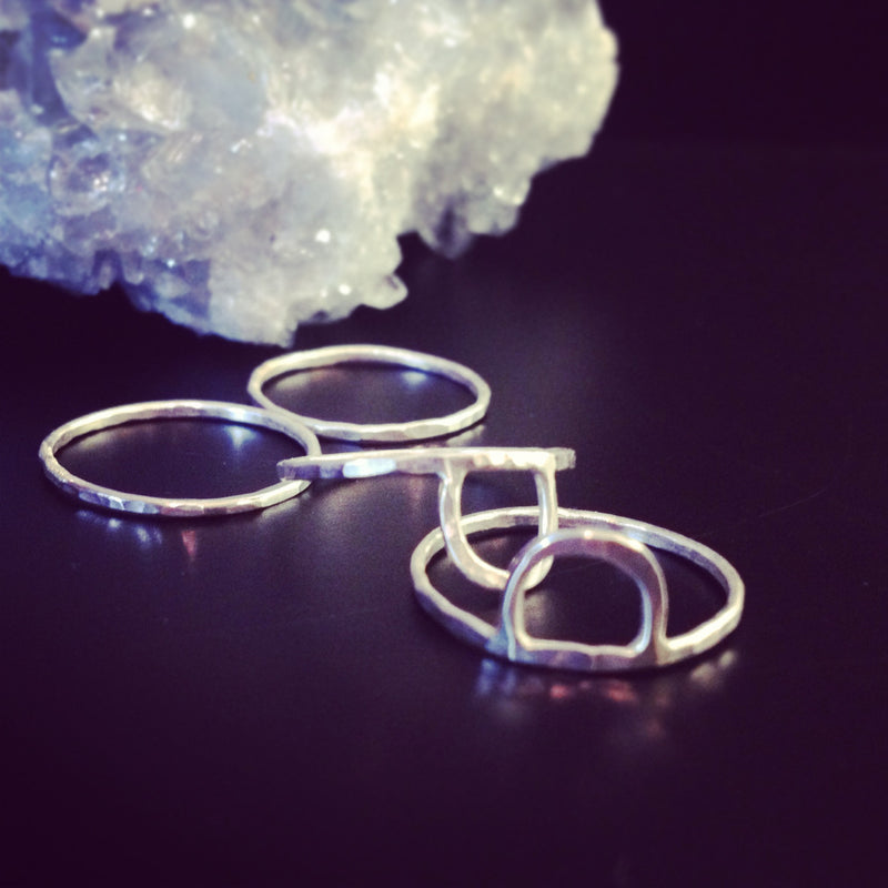 silver arch stacking ring set by aquarian thoughts jewelry