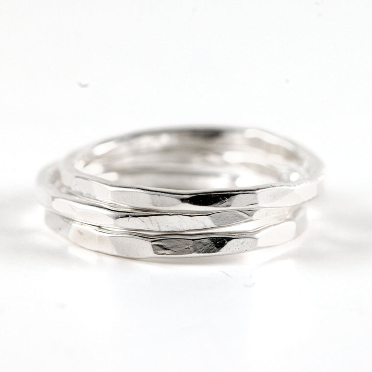 Hammered Sterling Silver Stacking Ring - Set of 3