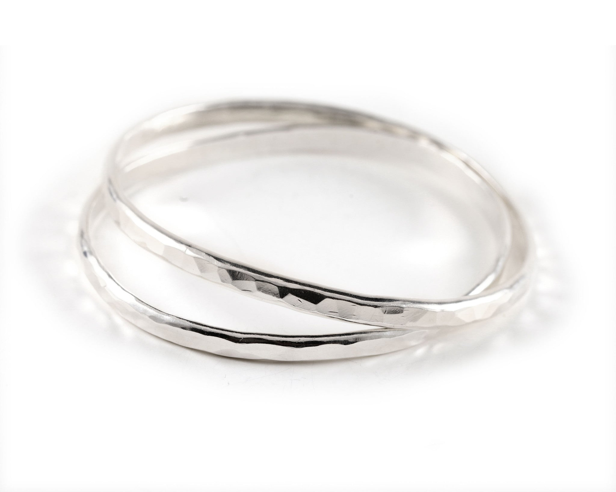 Hammered Silver Oval Bangles
