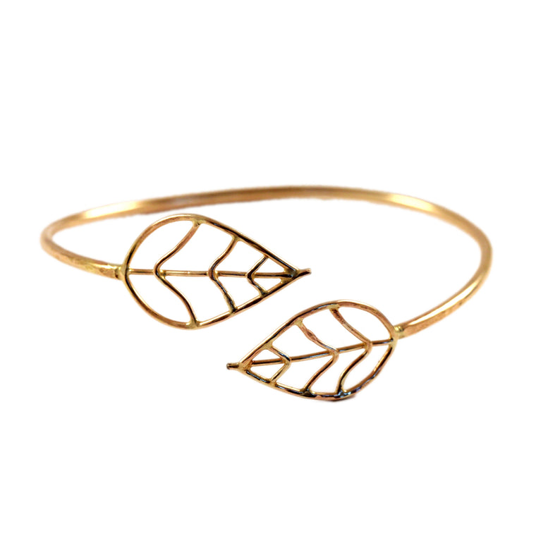 Hammered Double Leaf Cuff
