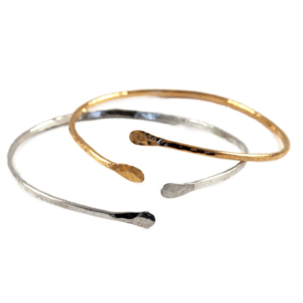 Hammered Open Cuff Bangle