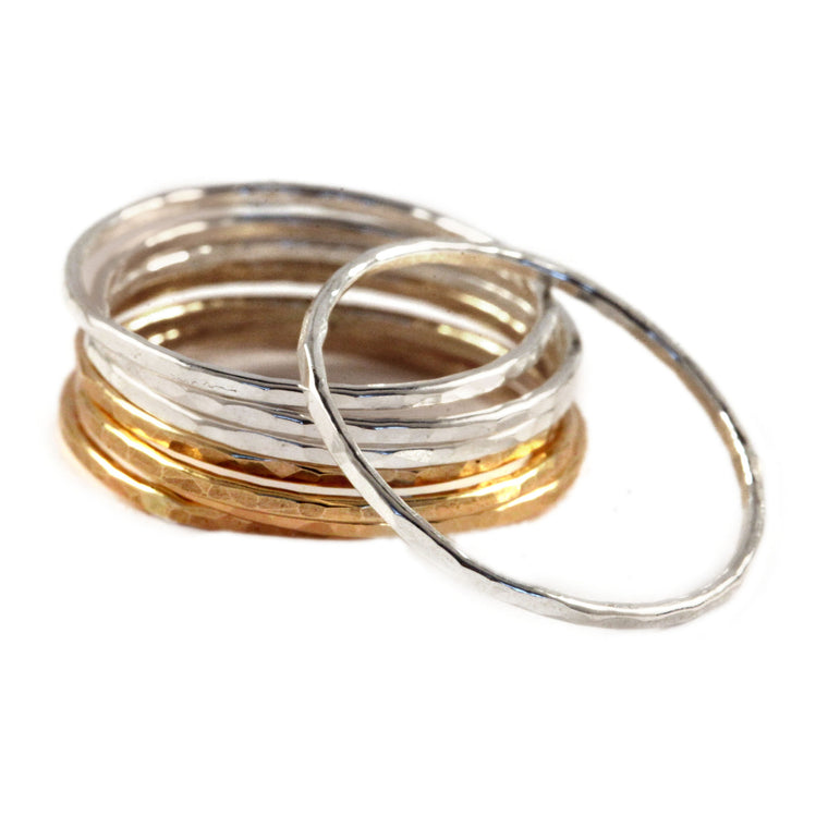 Hammered Mix of Gold & Silver Stacking Rings - Set of 8