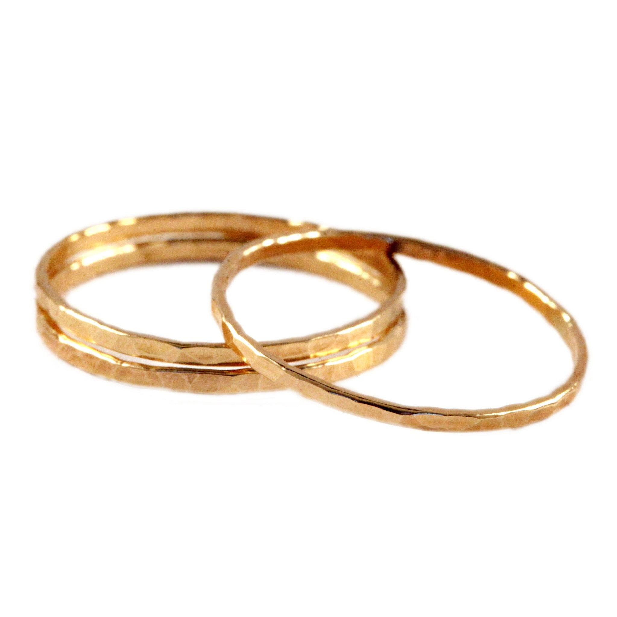Hammered Gold Fill Stacking Ring - Set of 3
