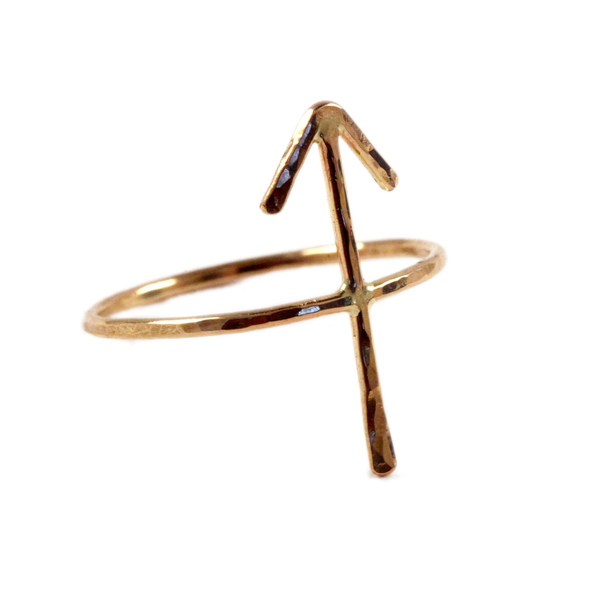 "Hammered Runic Symbol ""Victory"" Ring"