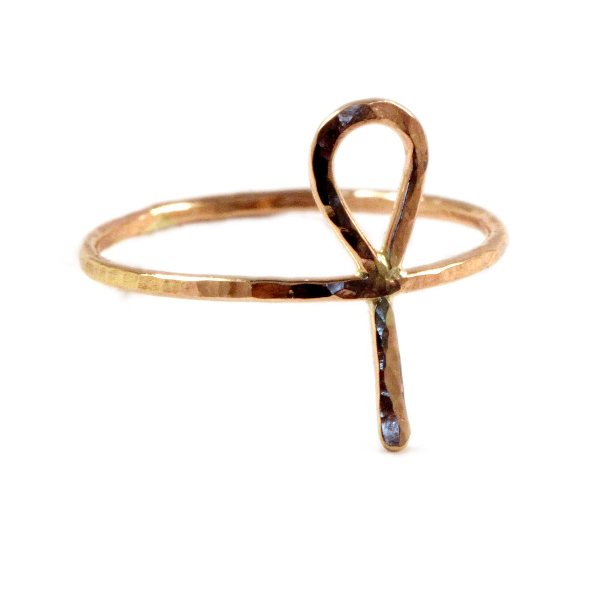 Hammered Ankh Ring