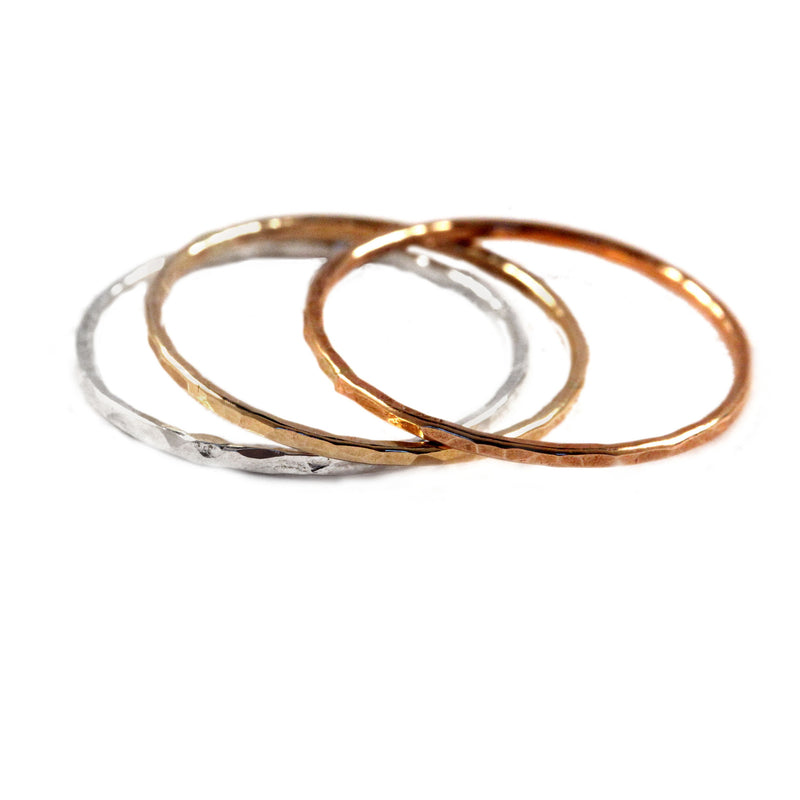 mixed metal stacking rings by aquarian thoughts jewelry