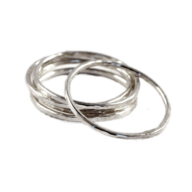 skinny silver stackable ring set of 5 by aquarian thoughts jewelry