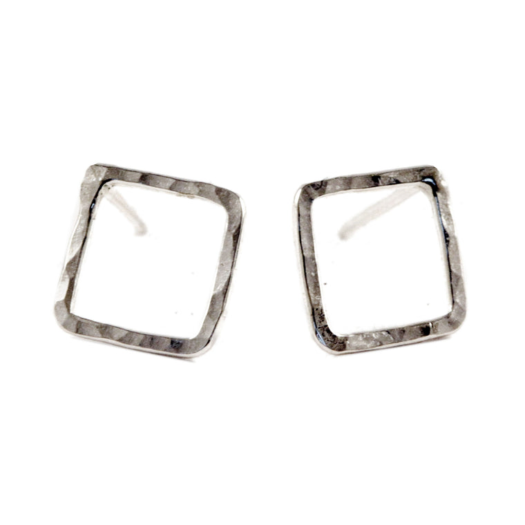 Hammered Diamond Stud Earrings