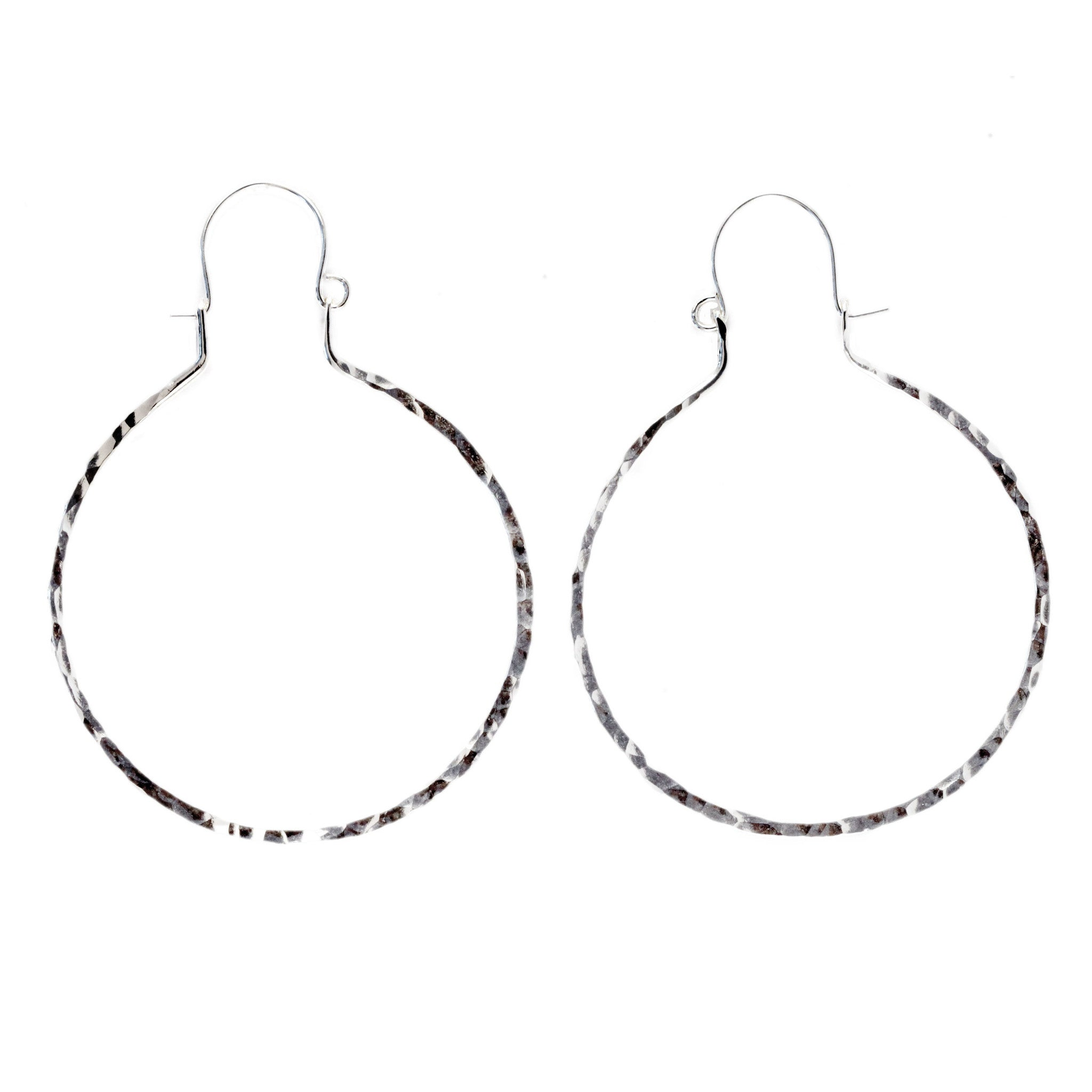 hammered hoop earrings, aquarian thoughts jewelry