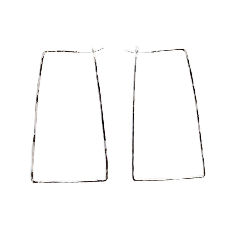 Hammered Skinny Trapezoid Hoop Earrings
