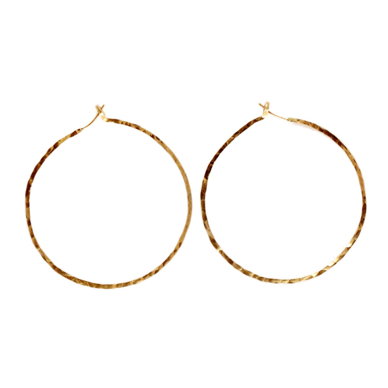 Hammered Skinny Hoop Earrings