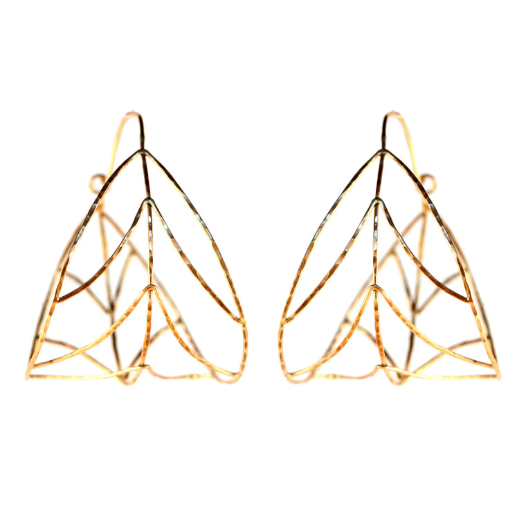 Organic Gold Leaf Hoop Earrings