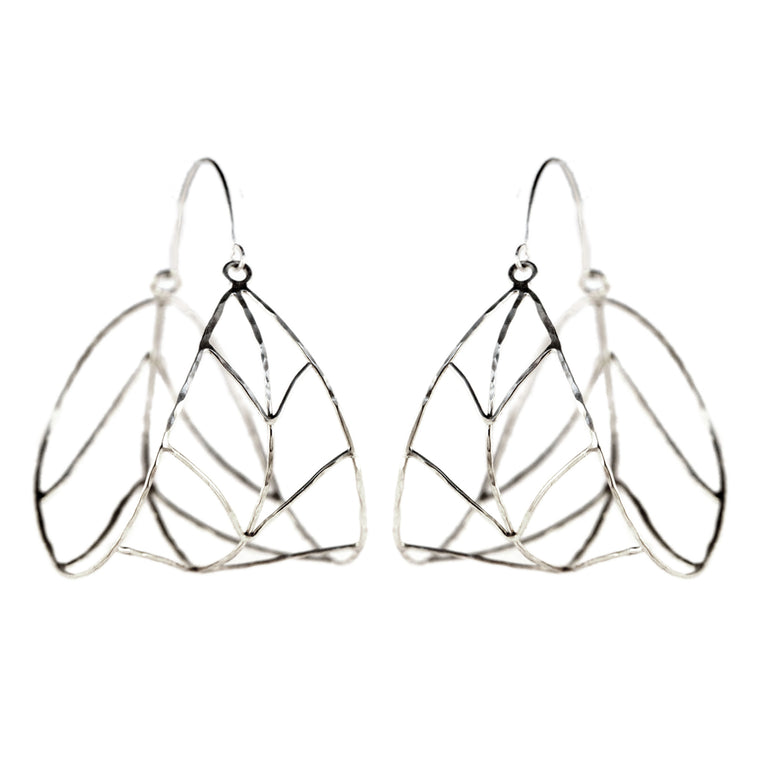Organic Silver Leaf Hoop Earrings
