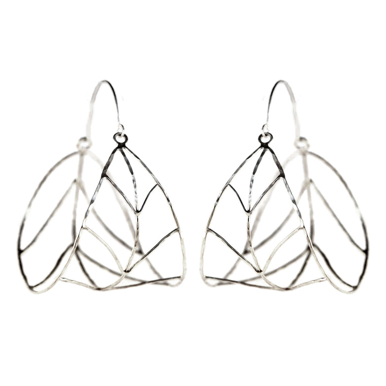oraganic leaf hoops, aquarian thoughts jewelry