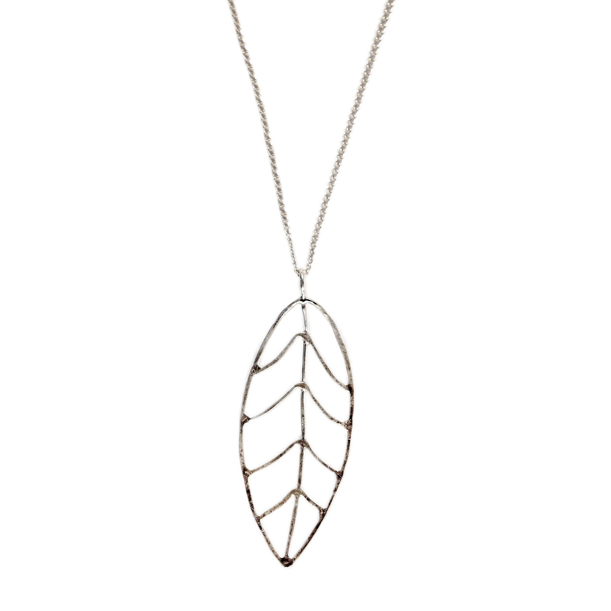 Hammered Leaf Pendant Necklace
