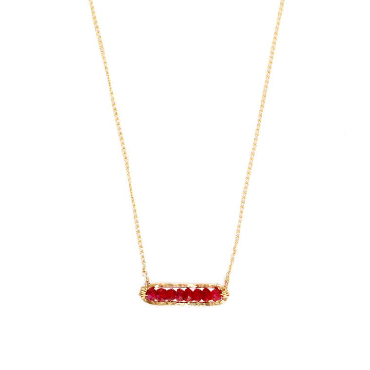 Faceted Ruby Bar Necklace