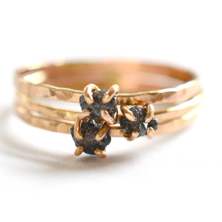 Delicate Rough Black Diamond Ring