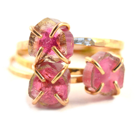 Delicate Watermelon Tourmaline Slice Ring
