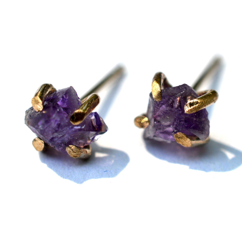delicate raw amethyst stud earrings, aquarian thoughts jewelry