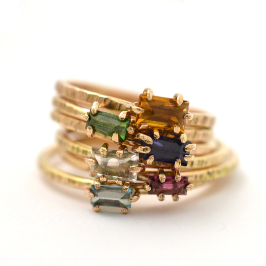 gemstone stacking ring, aquarian thoughts jewelry