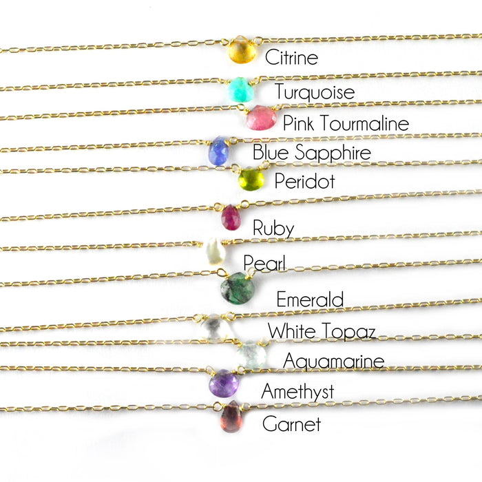 Geometric Birthstone Necklace