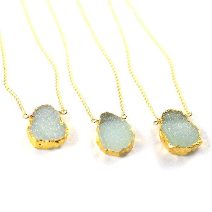 Delicate blue druzy raw gemstone necklace, aquarian thoughts jewelry